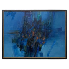 Modern Painting Abstract Art Oil on Canvas in Brilliant Blue Signed 1985