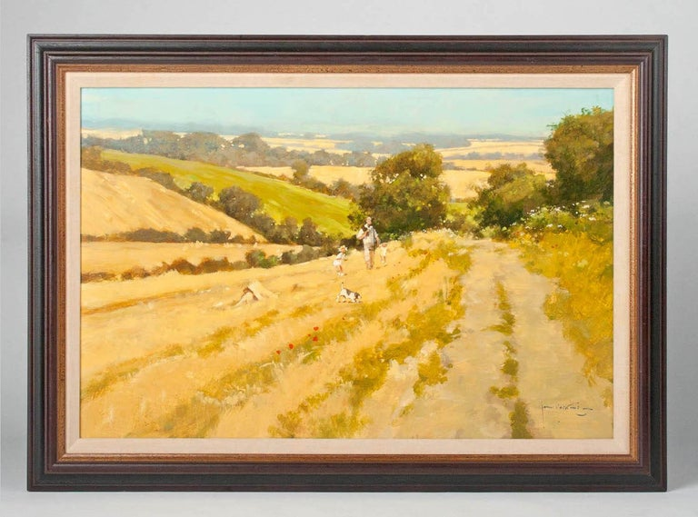 Contemporary painting by the British artist John Haskins. It is a meadow landscape in which a man walks with children and a dog. It looks like a summer day with golden grassland with blooming meadow flowers. The painting is painted with a smooth,