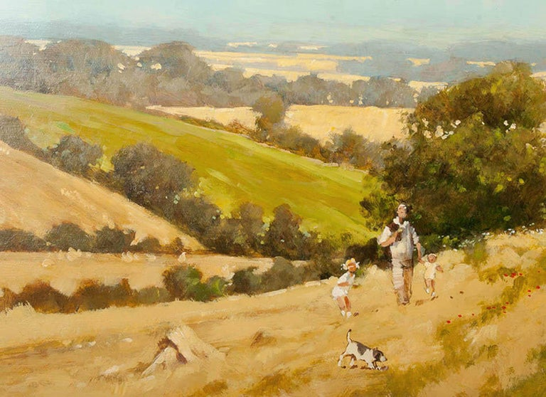 Modern Painting of an English Meadow Landscape, John Haskins, Late 20th Century For Sale 1