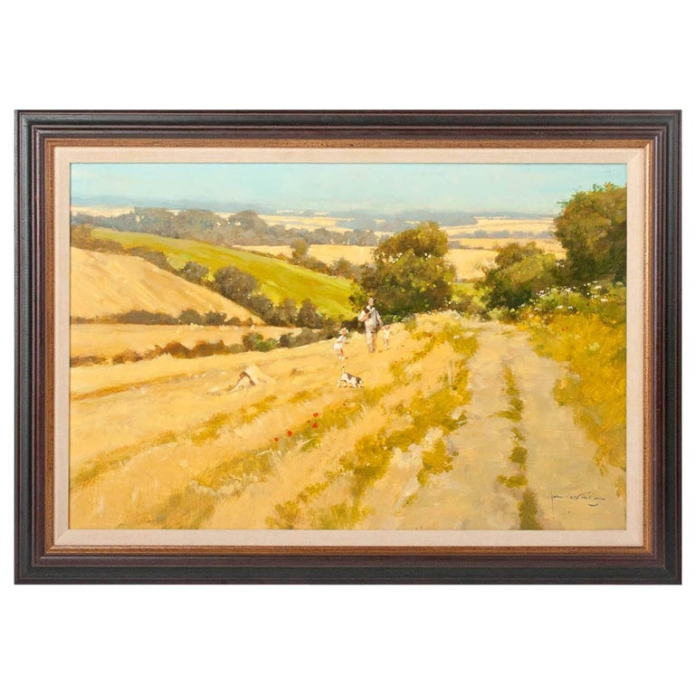 Modern Painting of an English Meadow Landscape, John Haskins, Late 20th Century For Sale