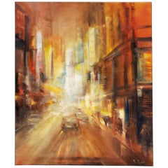 Modern Painting of New York City Street at Night by M. C. Pajeile