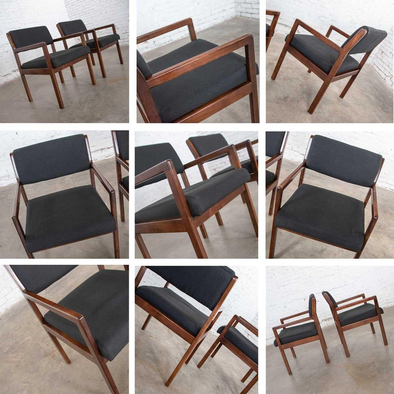 Modern Pair of Black and Walnut Tone Wood Accent or Dining Armchairs by Haworth For Sale 5