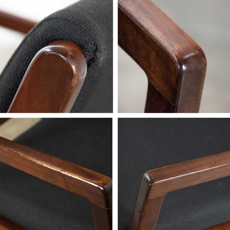 Modern Pair of Black and Walnut Tone Wood Accent or Dining Armchairs by Haworth For Sale 6