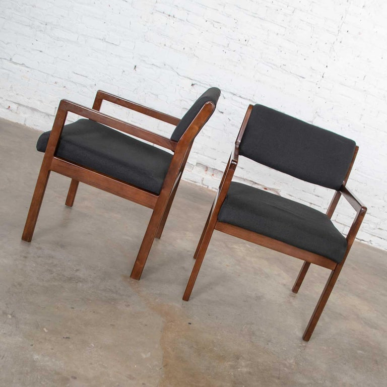 20th Century Modern Pair of Black and Walnut Tone Wood Accent or Dining Armchairs by Haworth For Sale
