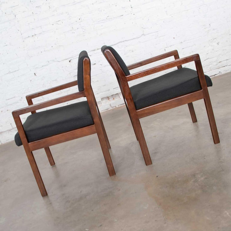 Fabric Modern Pair of Black and Walnut Tone Wood Accent or Dining Armchairs by Haworth For Sale