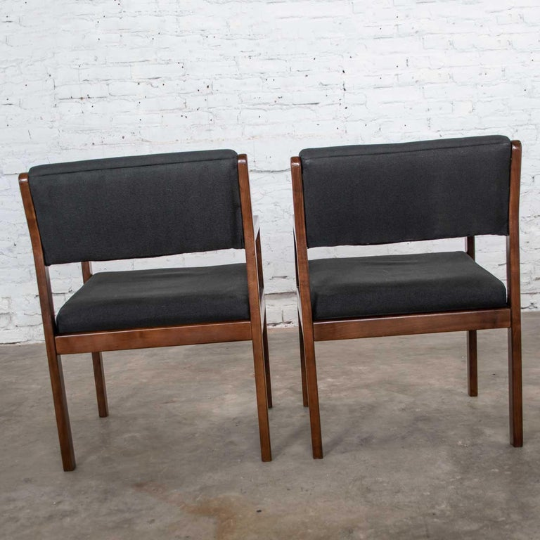 Modern Pair of Black and Walnut Tone Wood Accent or Dining Armchairs by Haworth For Sale 1