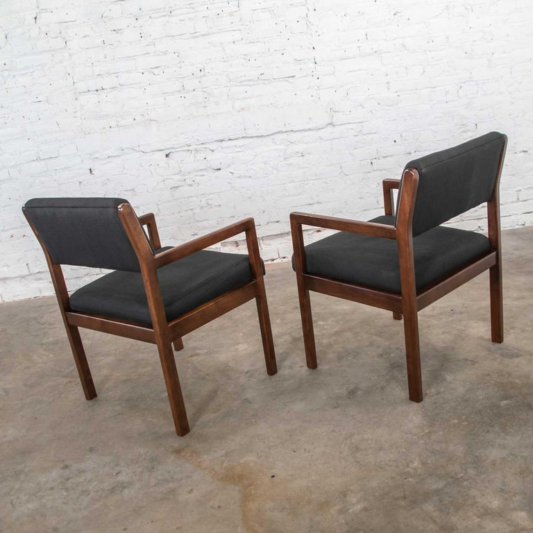 Modern Pair of Black and Walnut Tone Wood Accent or Dining Armchairs by Haworth For Sale 3