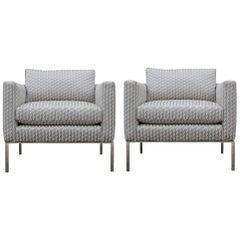 Modern Pair of Geometric Goyard Pattern Modern Lounge Chrome Chairs Knoll Style