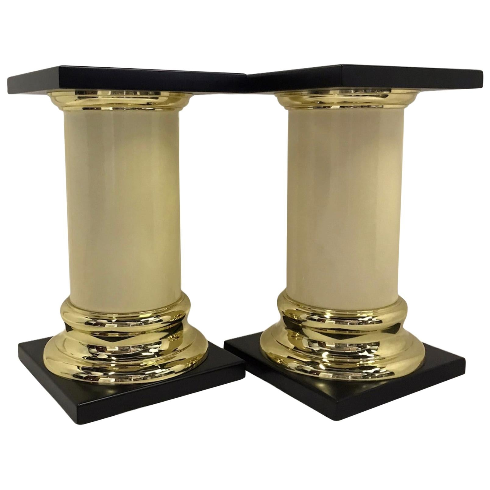 Modern Pair Mastercraft Columnar Pedestals Side Tables Neoclassical Style 1960s