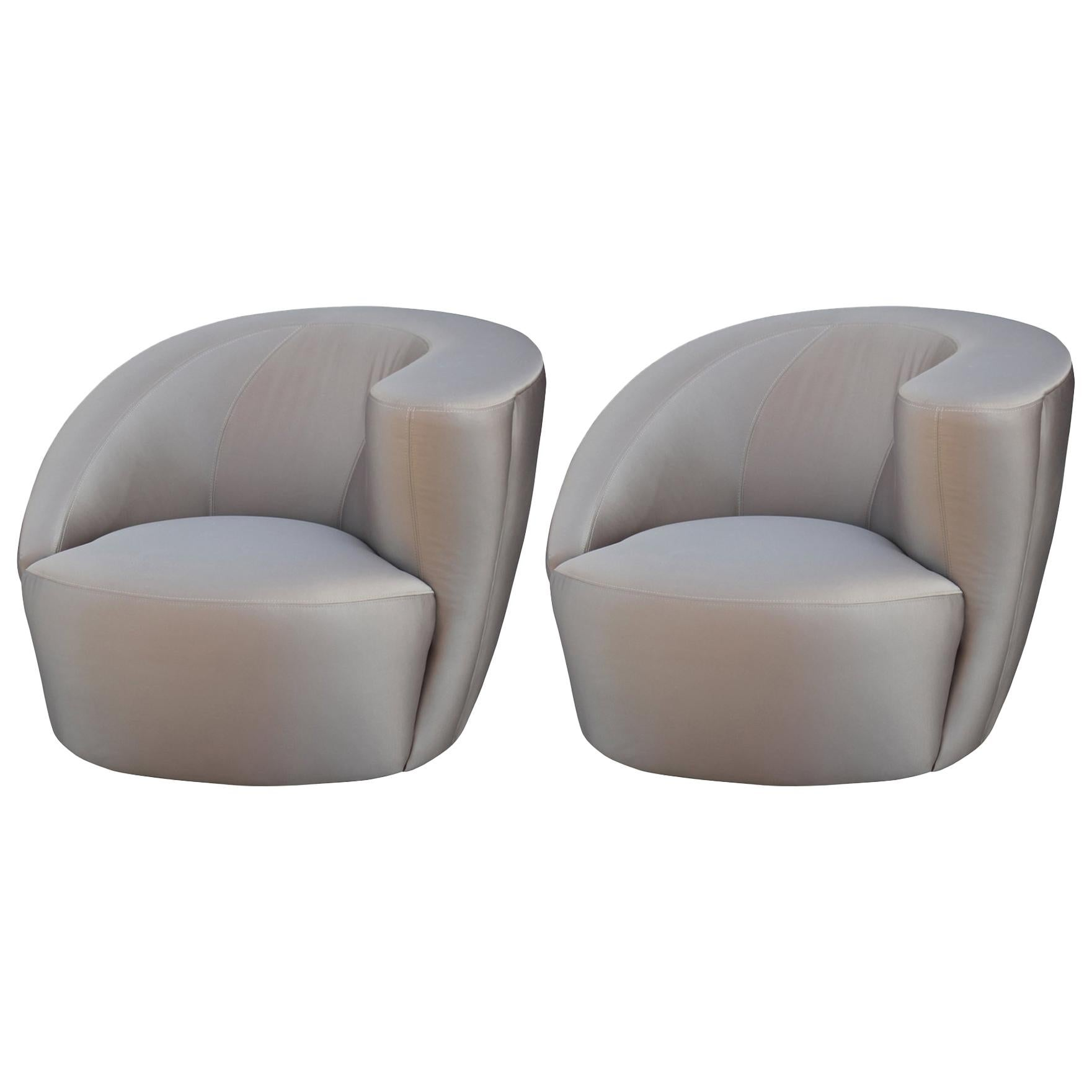 Modern Pair of Asymmetrical Swivel Club Lounge Chairs by ...