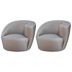 Modern Pair of Asymmetrical Swivel Club Lounge Chairs by Vladimir Kagan