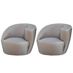 Modernes Paar Asymmetrischer Dreh-Club-Loungesessel von Vladimir Kagan