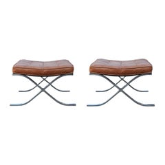 Modern Pair of Barcelona Style 1970s Brown Leather Stools or Ottomans
