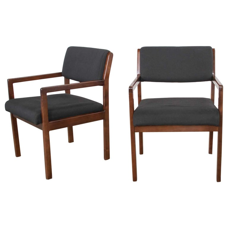 Modern Pair of Black and Walnut Tone Wood Accent or Dining Armchairs by Haworth For Sale