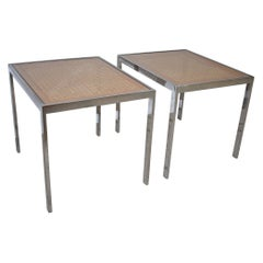 Modern Pair of Chrome and Cane Milo Baughman Style Side Tables