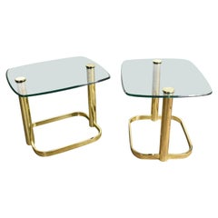 Modern Pair of End Tables Brass Plate & Glass Attr Rosen for The Pace Collection