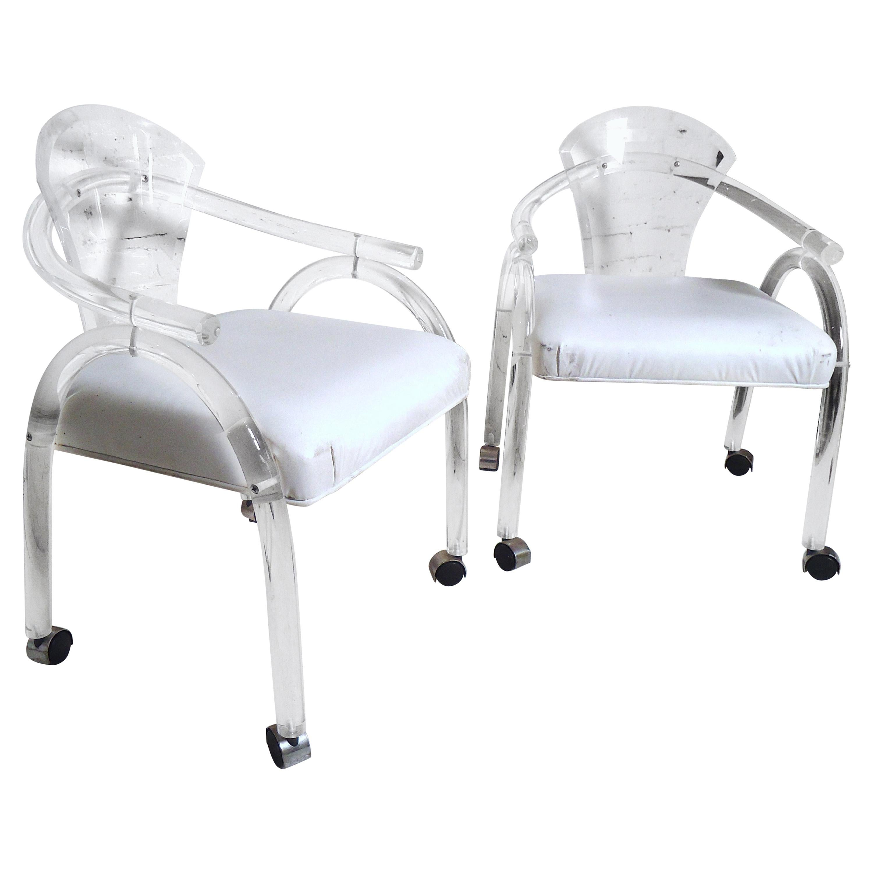 Modern Pair of Lucite Rolling Chairs
