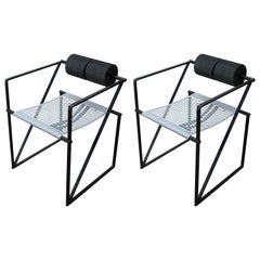 Modern Pair of Mario Botta Seconda 602 Memphis Dining Chairs for Alias