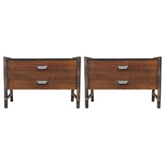Modern Pair of McGuire Bamboo Nightstands or End Tables with Laminate Top