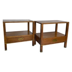 Modern Pair of Mid-Century Campaign End Tables by Baker