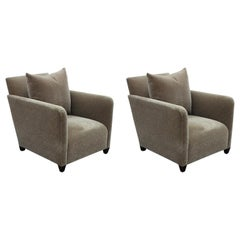 Modern Pair of Olive Donghia Mohair Lounge / Club Chairs