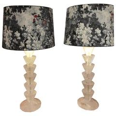 Modern Pair of Rock Crystal Table Lamps