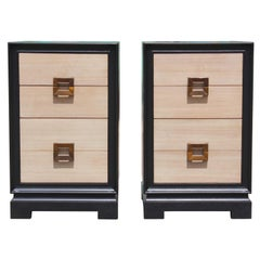 Modern Pair of Two-Tone Four-Drawer Nightstands with Neutral Finish