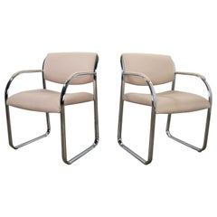 Modern Pair Off-White and Chrome Accent or Dining Armchairs by Steelcase