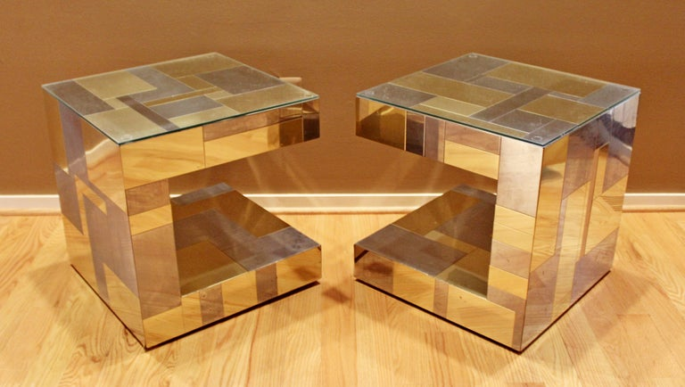 Late 20th Century Modern Pair of Paul Evans by Brass Chrome Cityscape Nightstands Side End Tables For Sale