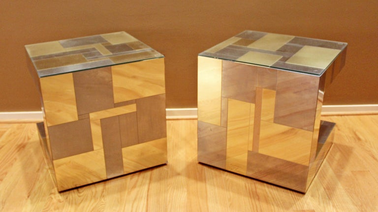 Modern Pair of Paul Evans by Brass Chrome Cityscape Nightstands Side End Tables For Sale 1