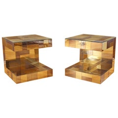 Modern Pair of Paul Evans by Brass Chrome Cityscape Nightstands Side End Tables