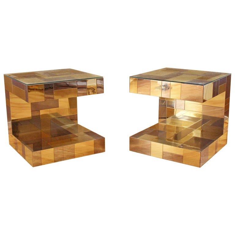 Modern Pair of Paul Evans by Brass Chrome Cityscape Nightstands Side End Tables For Sale
