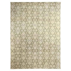 Modern Paleo White, Green and Gray Hand Knotted Hemp Rug