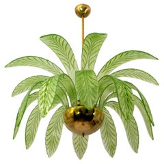 Modern Palm Leaves Chandelier Murano Glass and Brass, 1970s