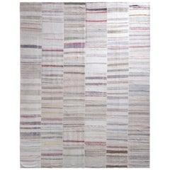 Rug & Kilim's Modern Patchwork Kilim Rug in Gray Multi-Color Stripe Pattern