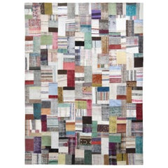 Rug & Kilim Modern Patchwork Kilim Rug in Gray Multicolor Stripe Pattern