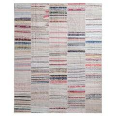 Modern Patchwork Kilim Rug in Gray Multicolor Stripe Pattern by Rug & Kilim
