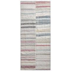 Rug & Kilim's Modern Patchwork Kilim Runner in Gray Multi-Color Stripe Pattern