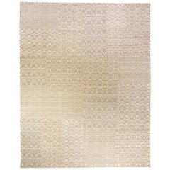 Modern Patchwork-Like MM Gray Hand Knotted Wool Rug