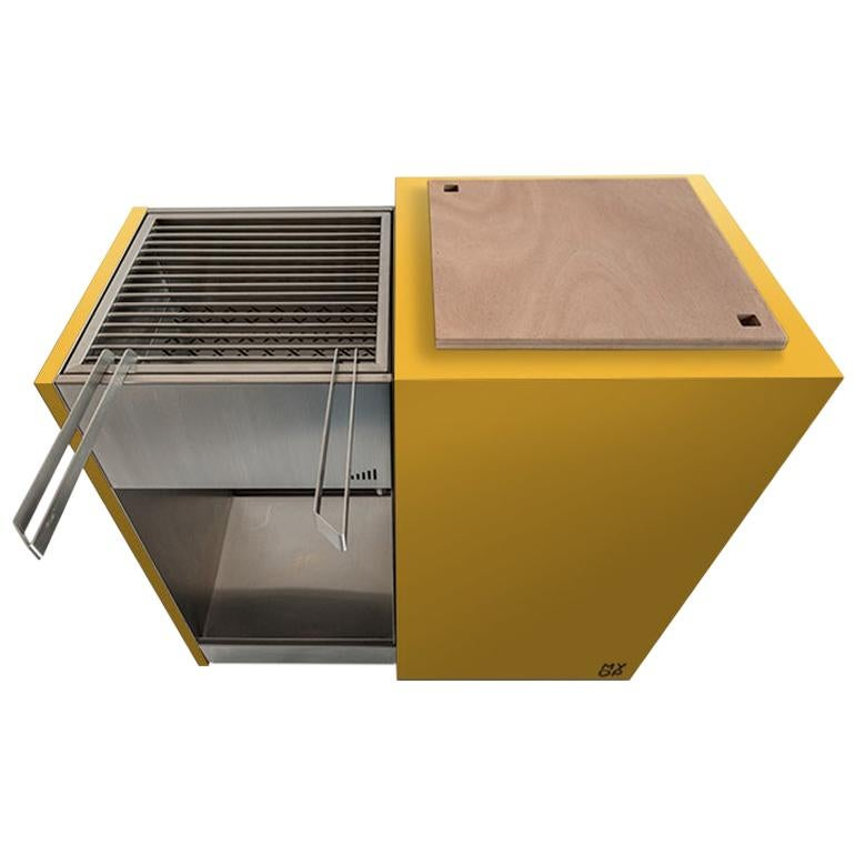 Modern Patio Charcoal Barbecue with Sliding Grills, Snail Mono Vision Yellow