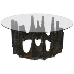 Modern Paul Evans Round Stalagmite Form Base with Glass Top Coffee Table