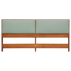 Modern Paul McCobb for Planner Group King Maple Headboard with Mint Green Vinyl