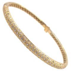 Modern Pave Diamond 18 Karat Rose Gold Bangle Bracelet