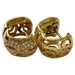 Modern Pave Diamond 18 Karat Yellow Gold Pierced Earrings