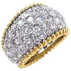 Modern Pave Diamond Band Ring 18 Karat Two-Tone Gold