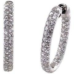 Modern Pavé Diamond in and Out Hoop Earrings 18 Karat White Gold