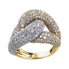 Modern Pave Diamond Knot Ring 18 Karat Two-Tone Gold