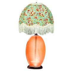 Modern Peach Lucite Midcentury Monumental Sculptural Egg Form Table Lamp