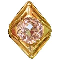 Modern Peach Morganite 18 Karat Gold Checkertop Ring