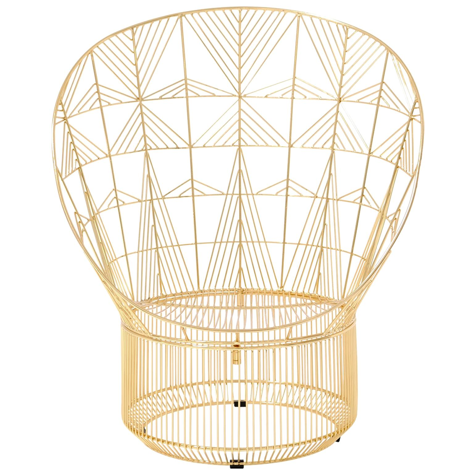 Modern Peacock Lounge Chair, Lounge Chair by Bend Goods in Gold